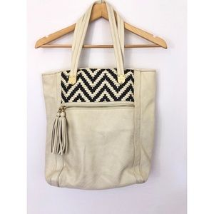Kate Landry Off-White Faux Leather Tote Bag